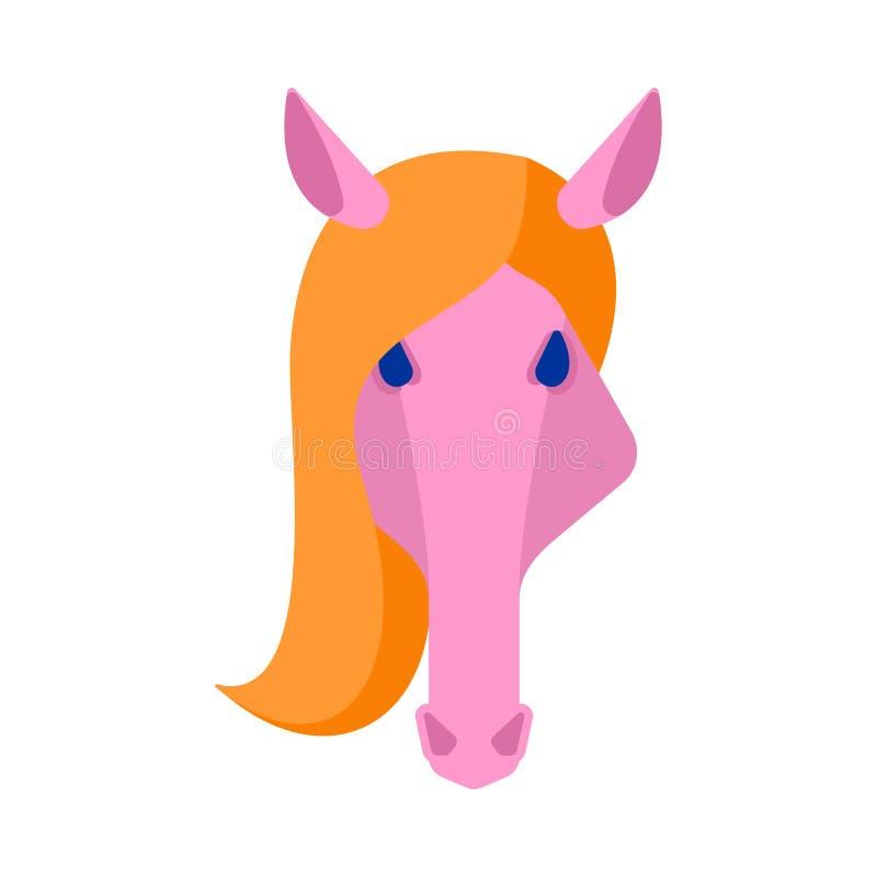 Cabeça cor-de-rosa do cavalo isolada Ilustração equino do vetor da cara ilustração do vetor