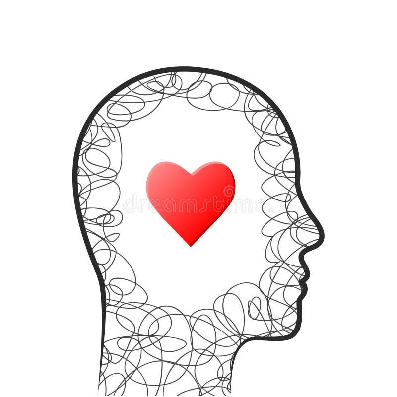 Cabeça, coração e conceito do garrancho ilustração do vetor