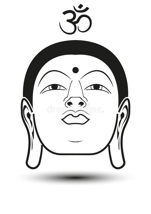 Cabeça da Buda com mantra do OM ilustração stock
