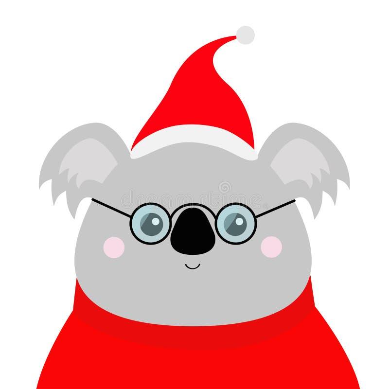 Cabeça da cara da coala Chapéu vermelho de Santa, camiseta, vidros Feliz Natal Animal de Kawaii Caráter engraçado do bebê do urso ilustração do vetor
