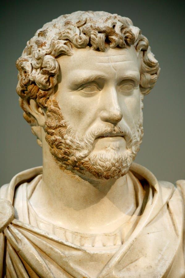 Cabeça da estátua do imperador romano de Antoninus Pius imagem de stock royalty free