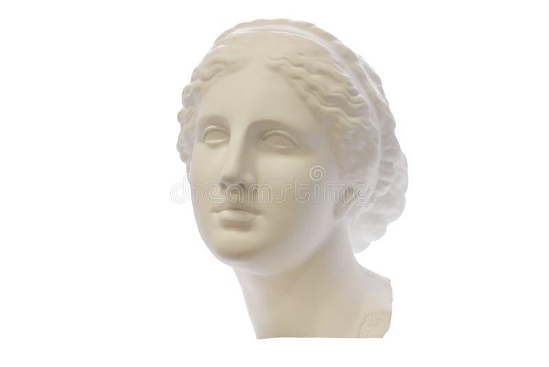 Cabeça da gipsita da jovem mulher do grego clássico isolada no fundo branco Para aprender o desenho foto de stock