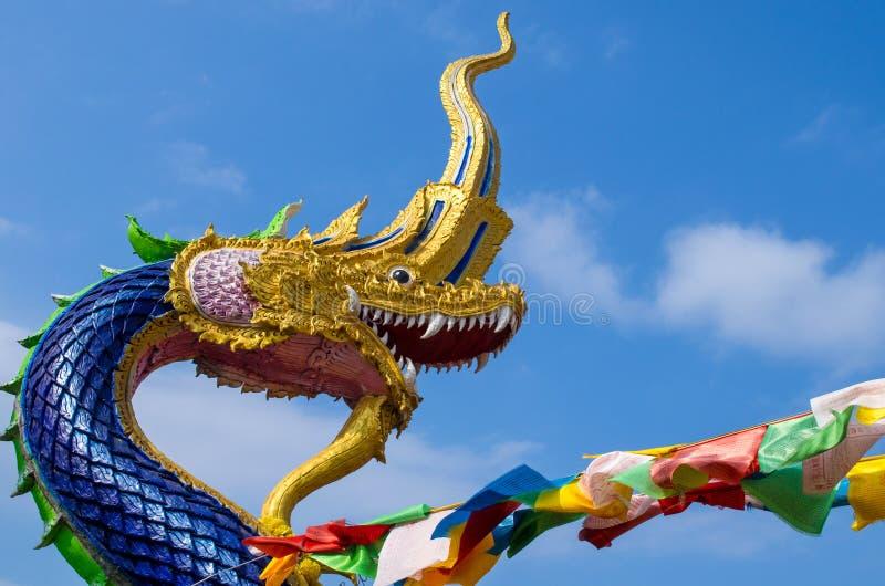Cabeça da grande estátua dos Nagas foto de stock royalty free