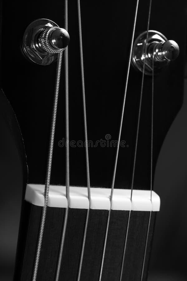 Cabeça da guitarra com Pegs de ajustamento, seis cordas e close-up da porca fotografia de stock royalty free