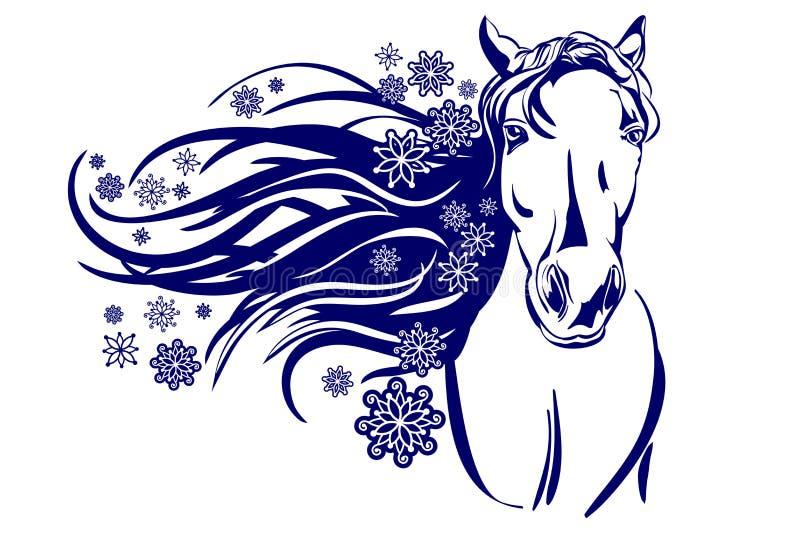 Cabeça da ilustração do vetor dos desenhos animados do cavalo ilustração royalty free