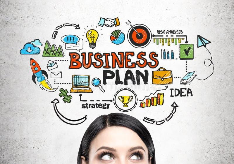 Cabeça da jovem mulher s e um plano de negócios imagens de stock