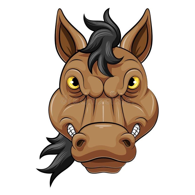 Cabeça da mascote de um cavalo irritado ilustração do vetor