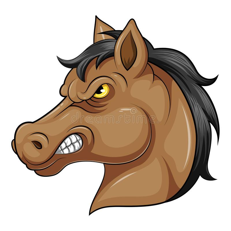 Cabeça da mascote de um cavalo irritado ilustração stock