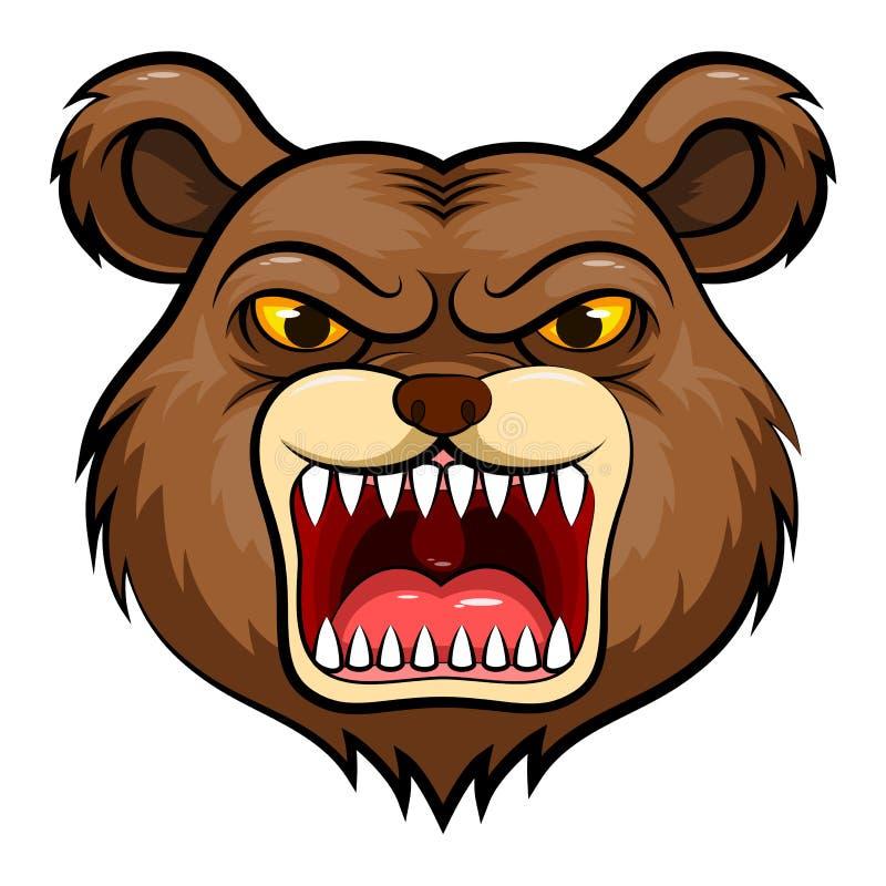 Cabeça da mascote de um urso ilustração do vetor