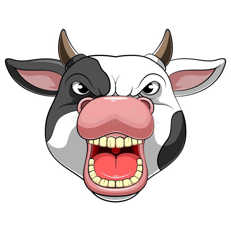 Cabeça da mascote do caráter de uma vaca ilustração stock