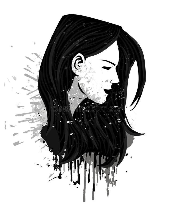 Cabeça da menina do Grunge ilustração do vetor