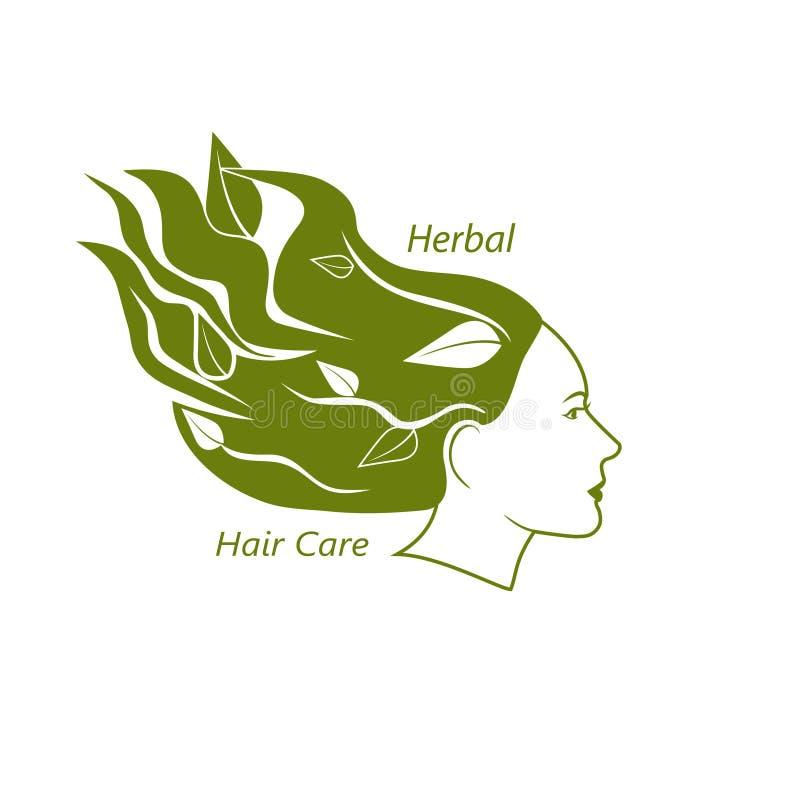 Cabeça da mulher com cabelo ondulado e folhas nele ilustração royalty free