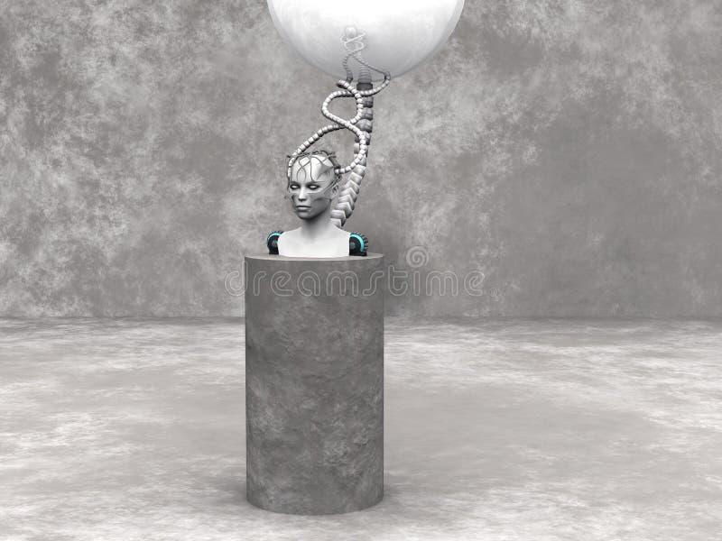 Cabeça da mulher do Android em um pódio. ilustração do vetor