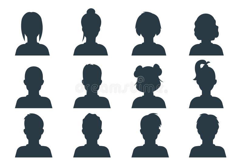 Cabeça da pessoa da silhueta Os povos perfilam avatars, o homem humano e as caras anônimas fêmeas Retratos do negócio do usuário  ilustração royalty free