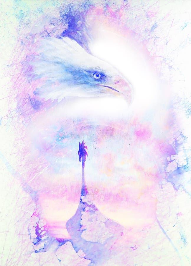 Cabeça da pintura da águia e do barco americanos de viquingue, em um fundo textured abstrato Estrutura de mármore ilustração stock