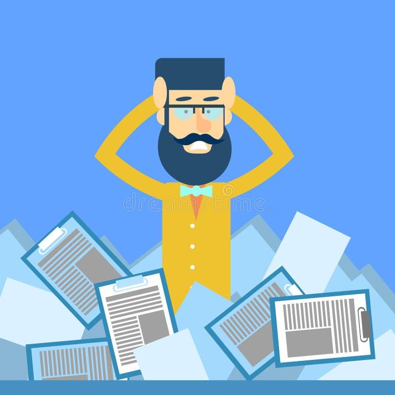 A cabeça da posse do homem de negócio documenta o conceito do problema do documento ilustração stock