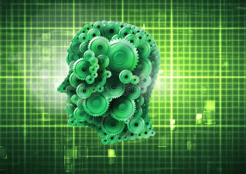 Cabeça da roda denteada com grade iluminada verde ilustração do vetor