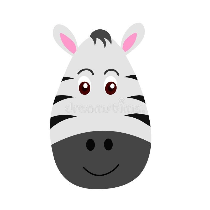 Cabeça da zebra dos desenhos animados, vetor principal animal Etiqueta animal ilustração do vetor
