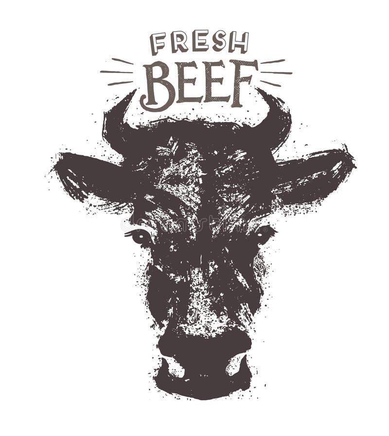 Cabeça das vacas em um estilo gráfico ilustração royalty free