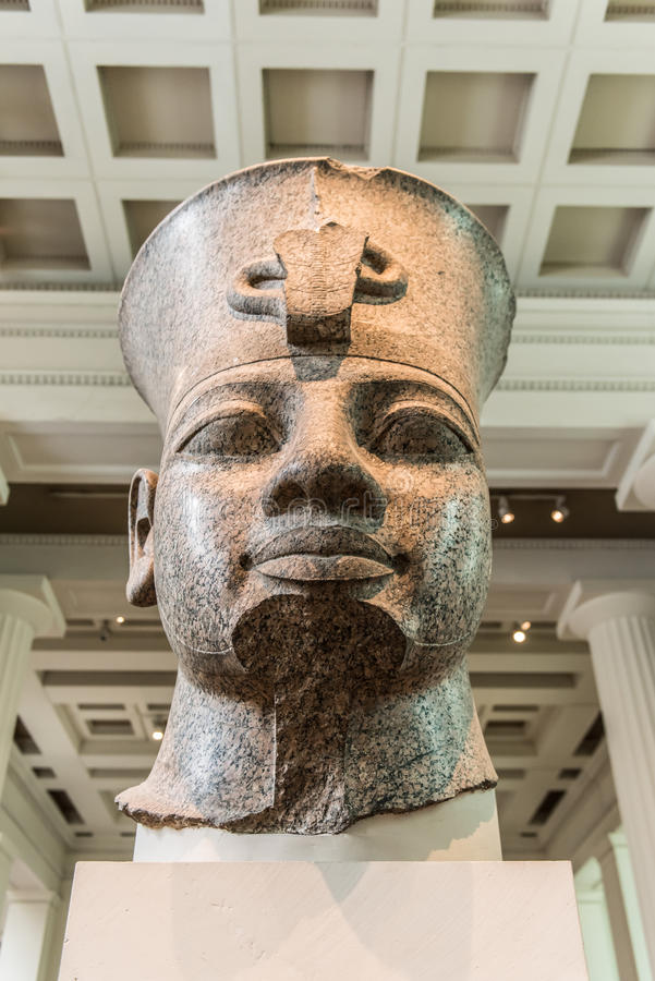Cabeça de Amenhotep III, British Museum, Londres fotografia de stock royalty free