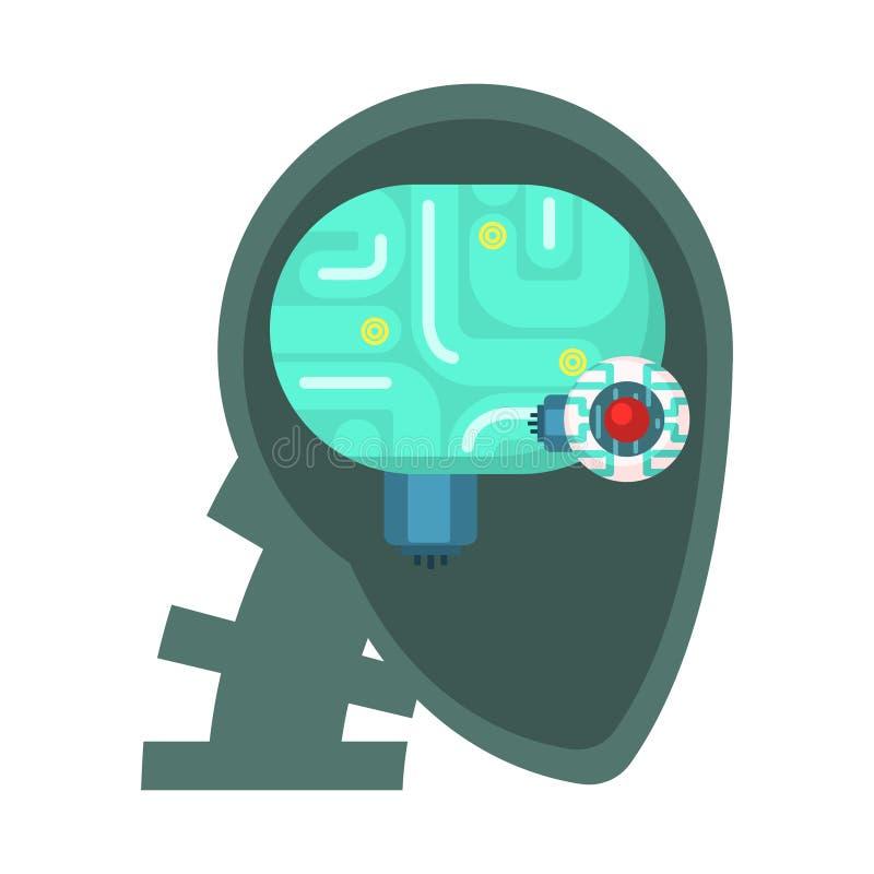 A cabeça de Android cortou completamente com olho e Brain Inside eletrônicos, parte da série futurista robótico e da TI da ciênci ilustração royalty free