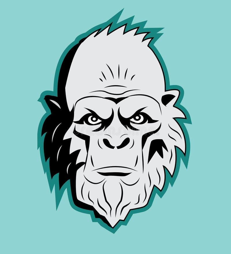 Cabeça de Bigfoot do abominável homem das neves Vetor sasquatch Boneco de neve abominável Monstro do abominável homem das neves ilustração stock
