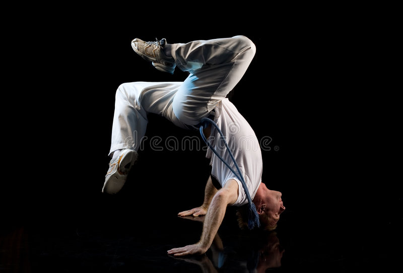 Cabeça de Breakdancer sobre os saltos fotos de stock