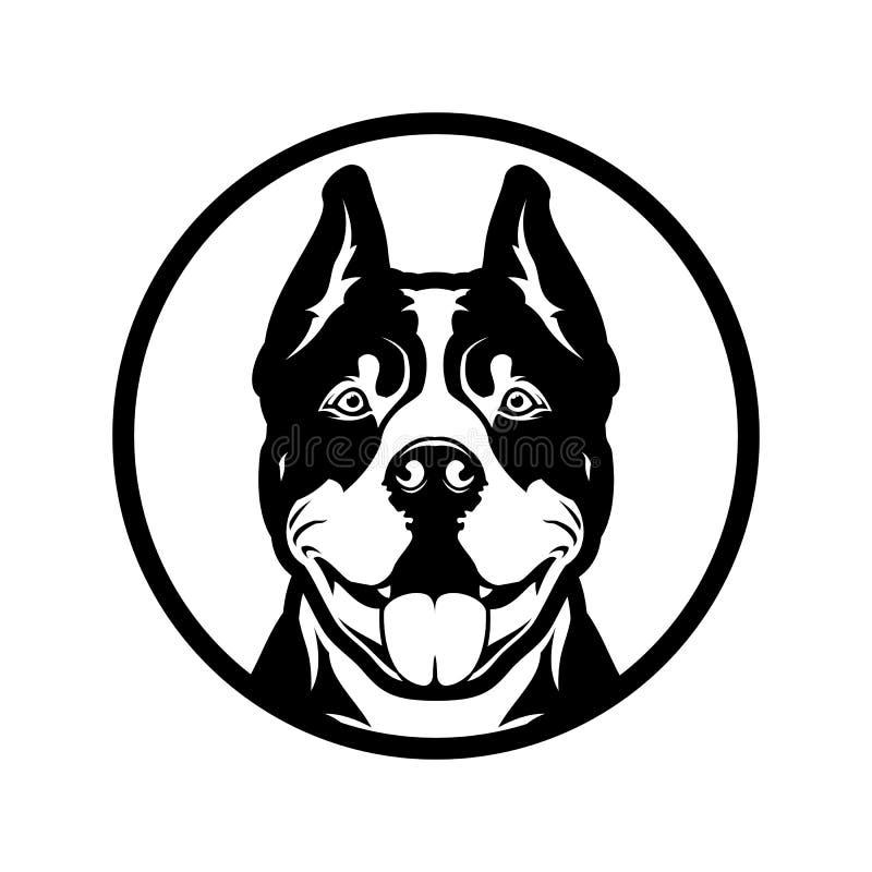 Cabeça de cão de boxe Pitbull cortada em silhueta fotos de stock royalty free