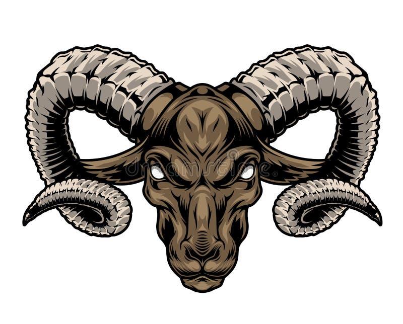 Cabeça de carneiro cruel, colorido vintage ilustração do vetor