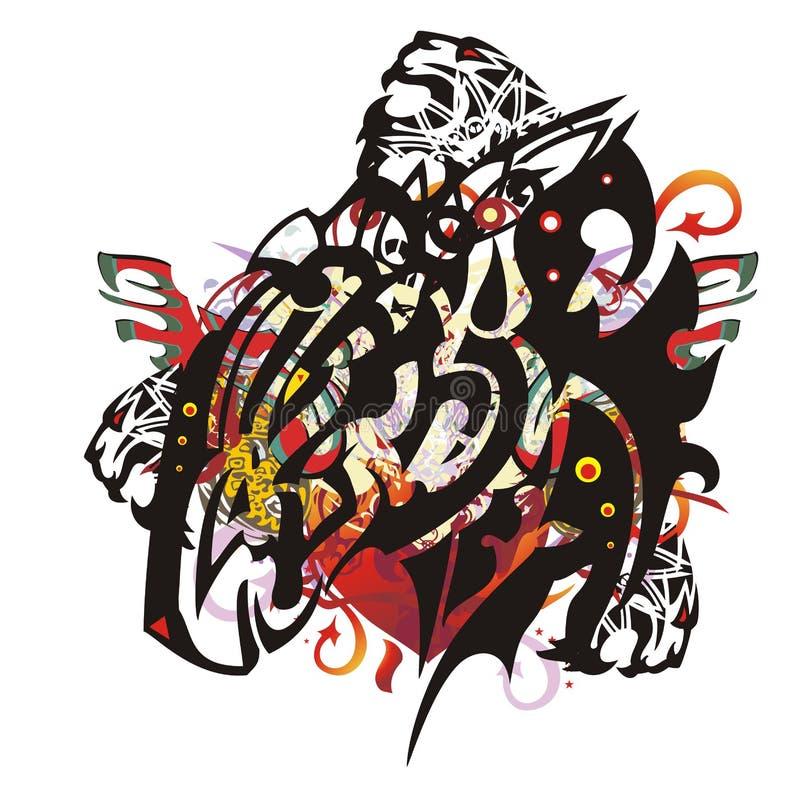 Cabeça de cavalo caprichoso tribal do Grunge ilustração royalty free