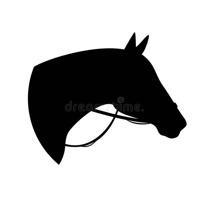 Cabeça de cavalo e silhueta preta do freio ilustração royalty free