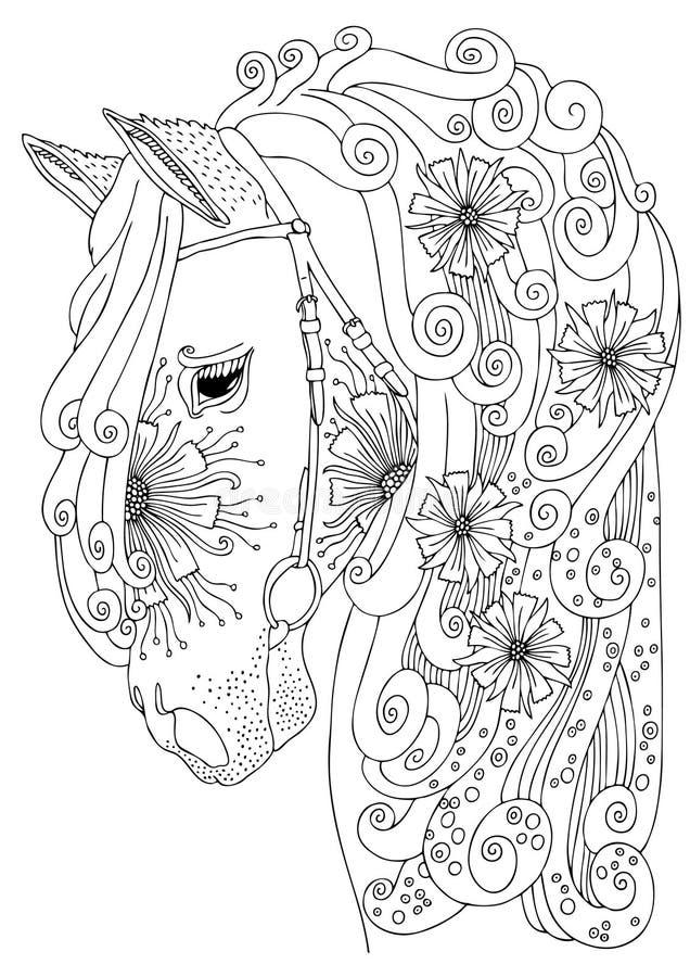 Cabeça de cavalo tirada mão Esboço para o livro para colorir do adulto do anti-esforço ilustração do vetor