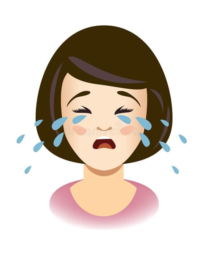 Cabeça de chorar a menina Gritos da mulher ilustração stock