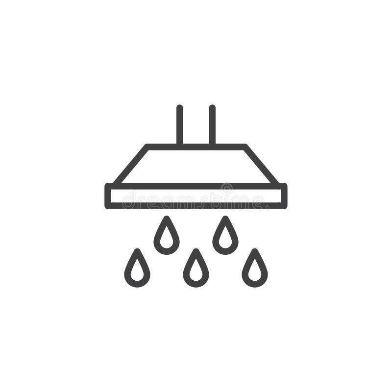 Cabeça de chuveiro e ícone de queda do esboço das grandes gotas da água ilustração do vetor