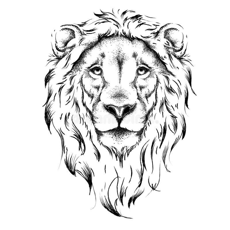 Cabeça de desenho étnica da mão do leão projeto do totem/tatuagem Uso para a cópia, cartazes, t-shirt Ilustração do vetor ilustração royalty free