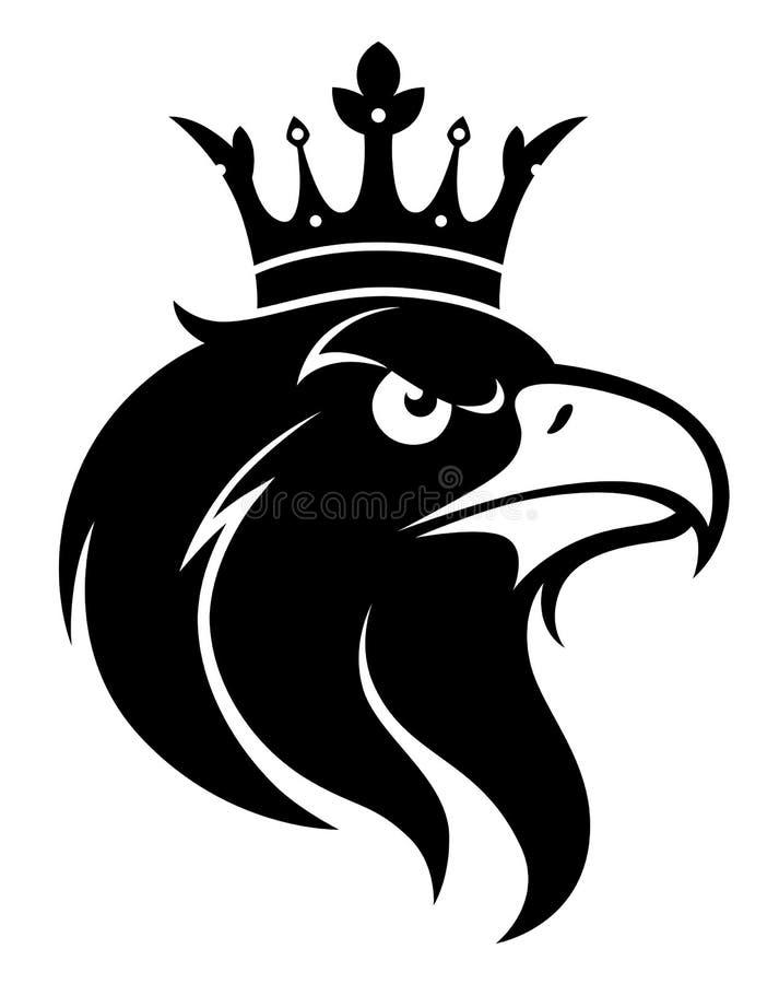 Cabeça de Eagle com coroa ilustração stock