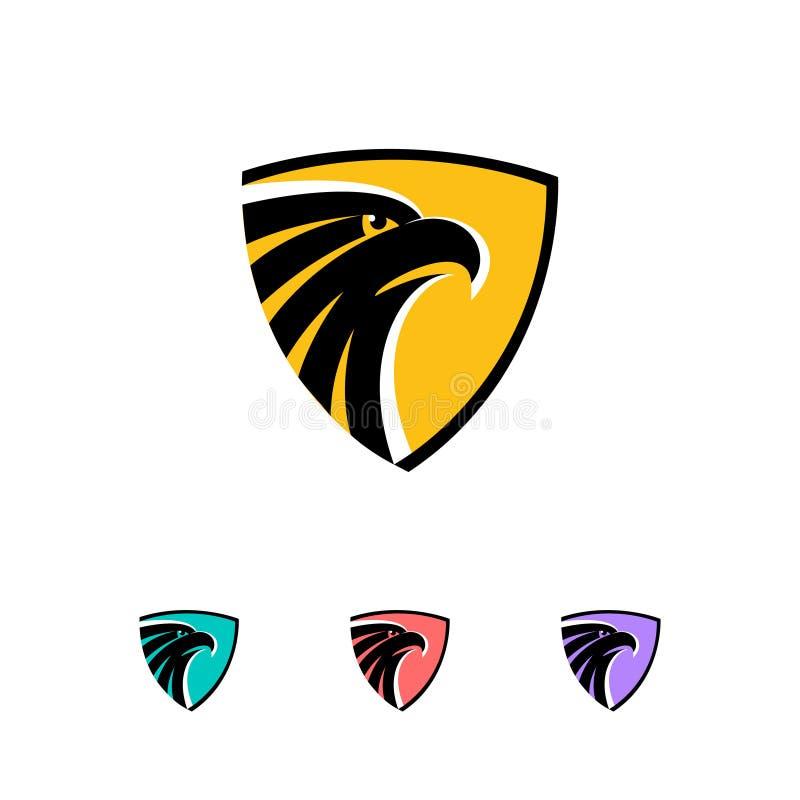 Cabeça de Eagle em um conceito do logotipo do protetor - vector a ilustração Simbolize o projeto em um fundo branco e escuro ilustração stock