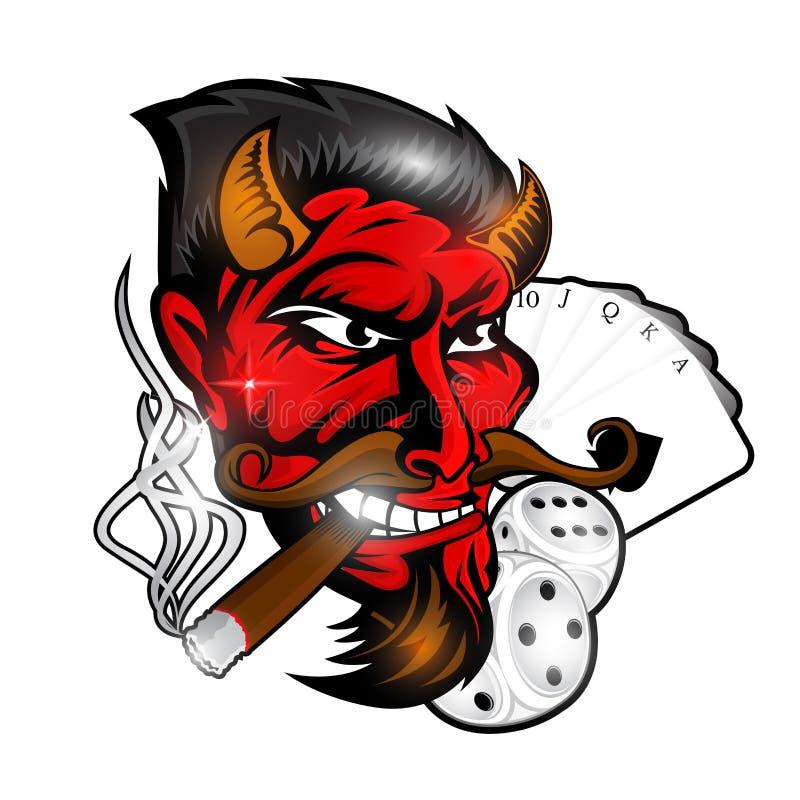 Cabeça de fumar o diabo vermelho com dados e cartão Etiqueta ou logotipo para a equipe rockabilly, da tatuagem ou de esporte ilustração stock