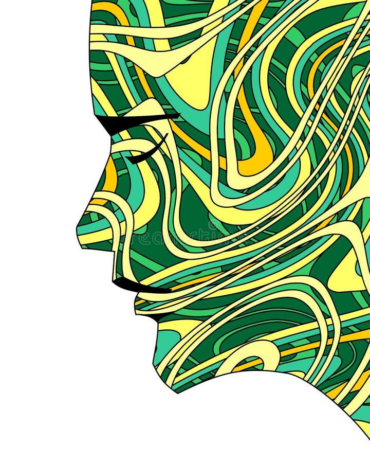 Cabeça de Gaia Mother Earth Goddess Profile com contornos orgânicos da energia ilustração do vetor