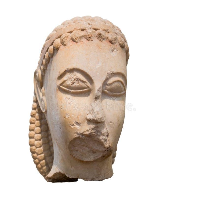 Cabeça de mármore de um Kouros, período arcaico do grego clássico fotografia de stock