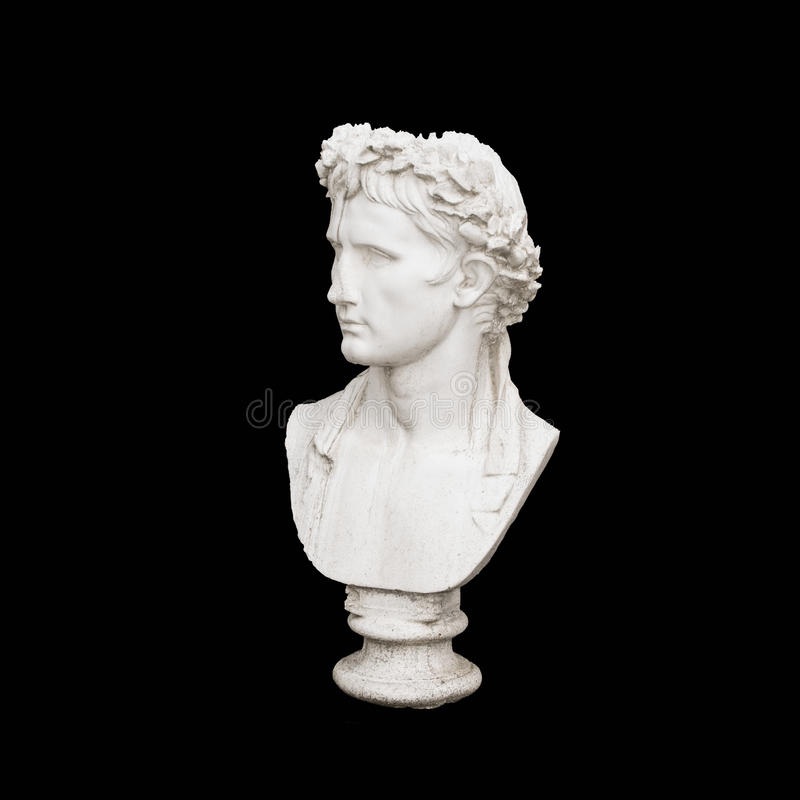 Cabeça de mármore do homem novo, busto do deus do grego clássico imagens de stock