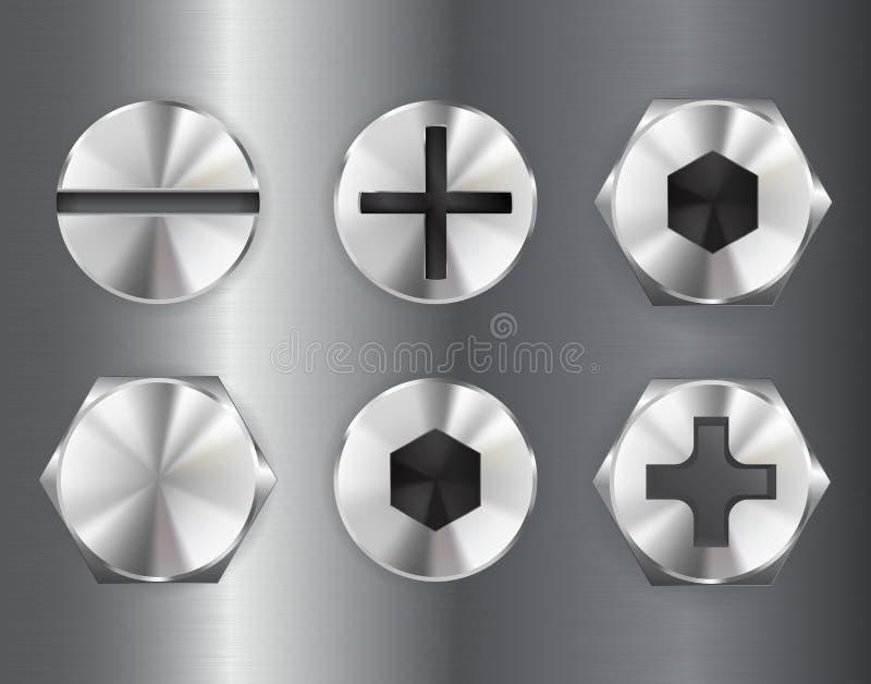Cabeça de movimentação do parafuso do metal ilustração do vetor