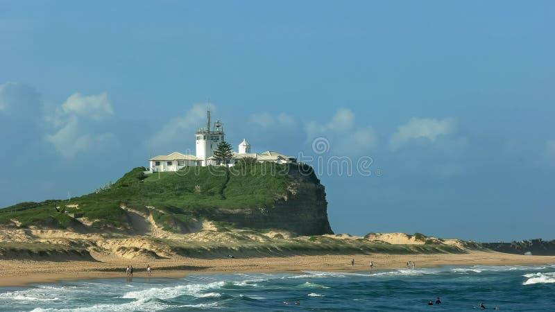 Cabeça de Nobbys fim em newcastle, Austrália acima imagem de stock royalty free