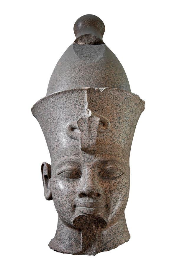 Cabeça de pedra preta de um pharaoh egípcio fotografia de stock royalty free