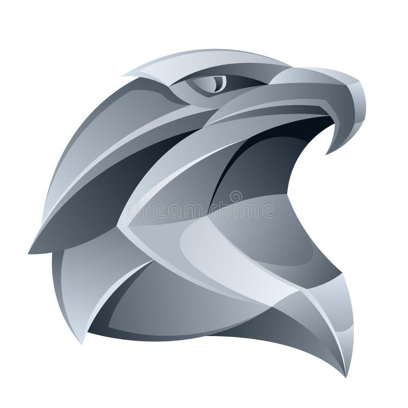 Cabeça de prata da águia ilustração do vetor