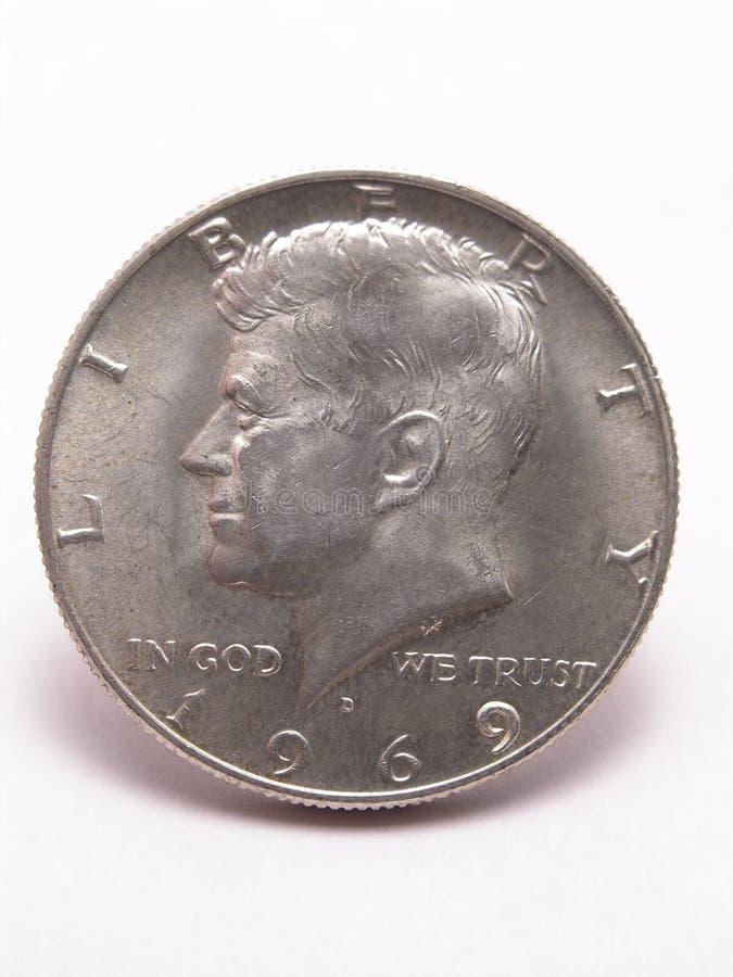 Cabeça de prata do meio dólar de Kennedy imagens de stock royalty free