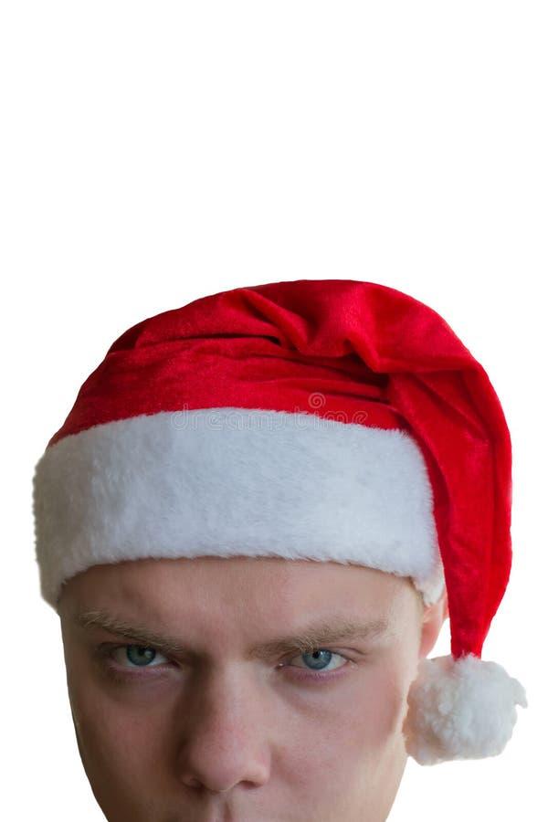 Cabeça de Santa Claus má cansado isolada no fundo branco imagem de stock royalty free