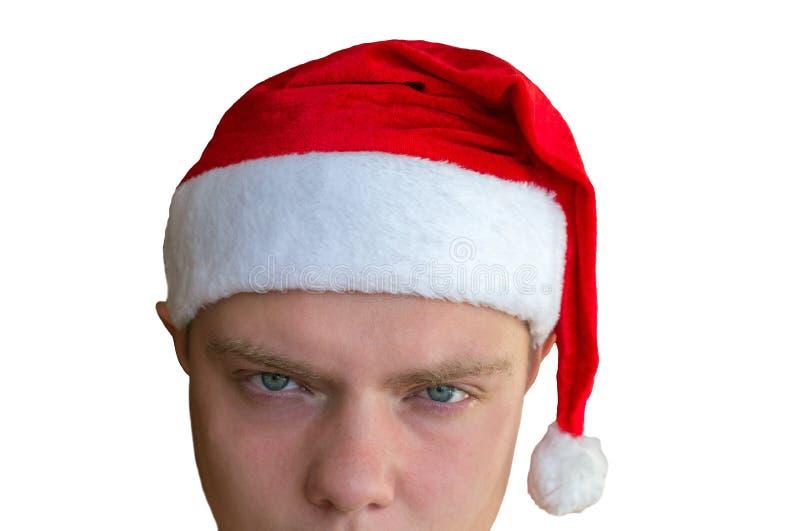 Cabeça de Santa Claus má cansado isolada no fundo branco fotografia de stock royalty free