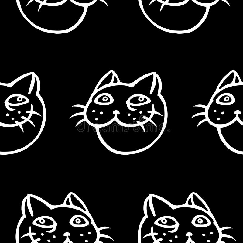 Cabeça de sorriso engraçada do gato Teste padrão do vetor ilustração stock