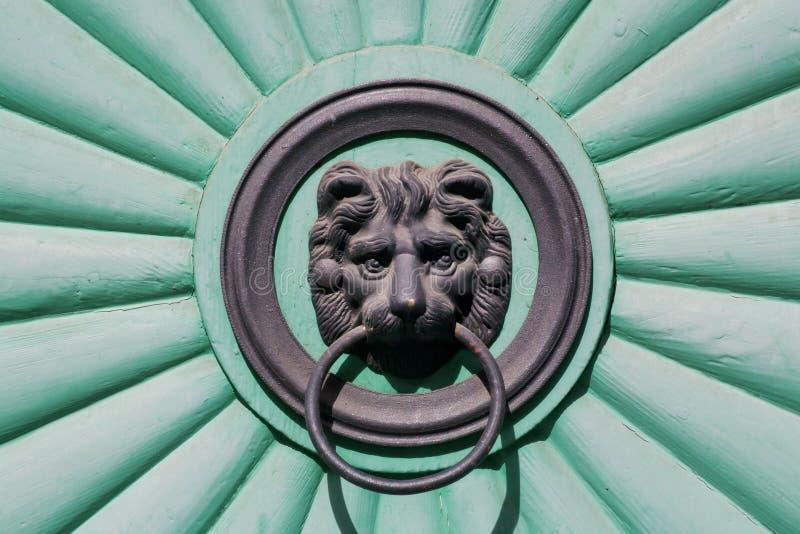 Cabeça de um filhote de leão que guarda um puxador da porta em sua boca, porta da rua imagem de stock